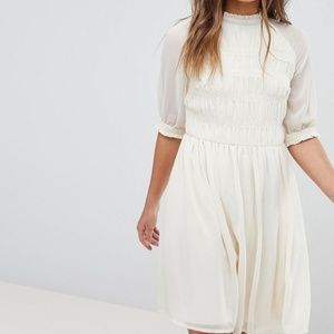 ASOS pleated ivory dress BooHoo US8